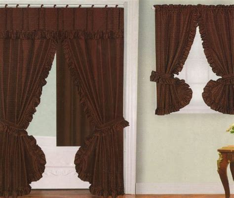 brown swag curtains bathroom window curtains chocolate brown fabric double