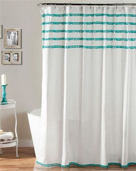 aqua and white curtains aria pom pom aqua shower curtain everything