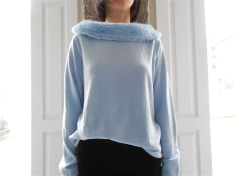 Light Blue Sweater by Light Blue Sweater With Fur Collar By Vandoma On Etsy