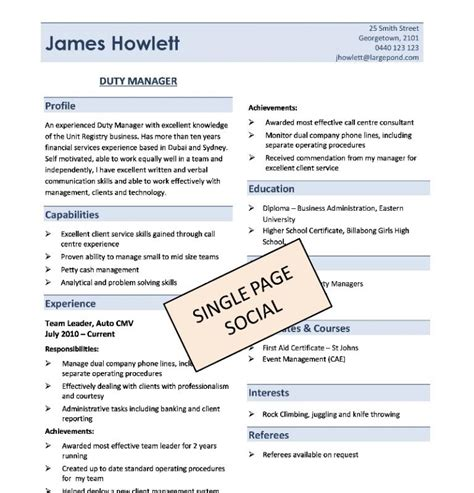Resume 1 5 Pages by 1 Page Resume Template Template Business