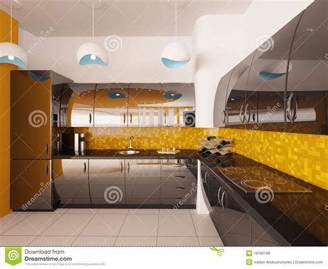 modern kitchen interior 3d rendering interior design of modern kitchen 3d render royalty free