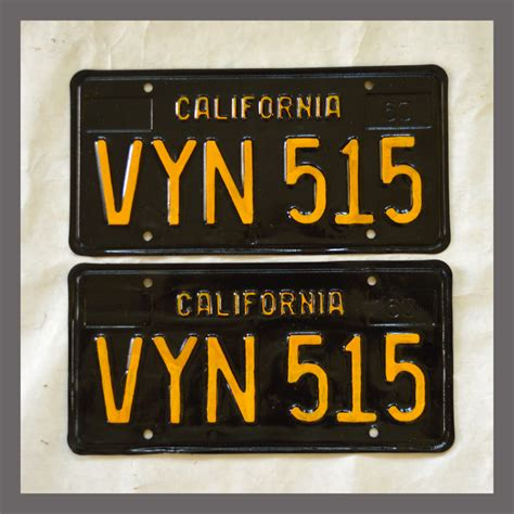 1963 california yom license plates for sale vintage pair