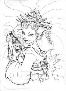 Latest Outline Geisha Tattoo Design sketch template