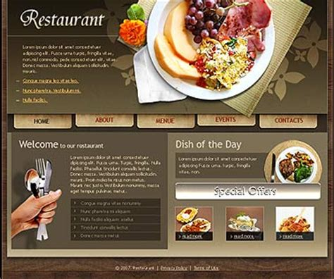 restaurant html website template best website templates