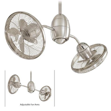 dual motor ceiling fan minka aire gyrette f302 bn brush nickel dual motor ceiling