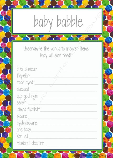 Baby Babble Shower by Baby Babble Word Scramble Baby Shower The