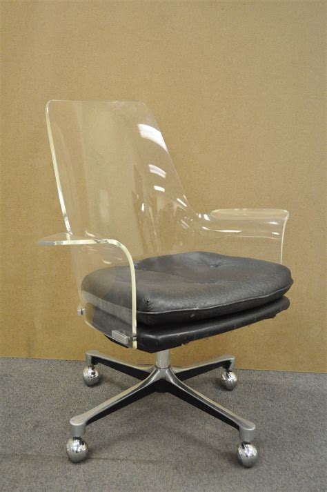 1960s sculpted lucite swivel desk chair after vladimir