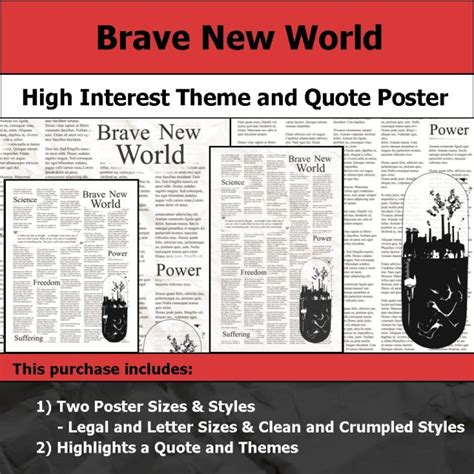 themes in hamlet and brave new world visual theme quote posters
