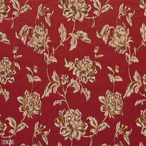 vintage pattern upholstery fabric red and burgundy heirloom vintage flower pattern brocade