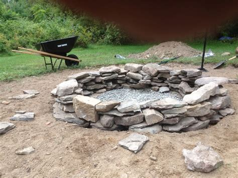 Natural Stone Fire Pit Rustic Landscape Boston Rock Firepit