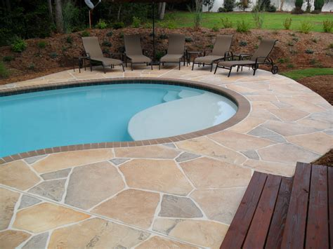 Pool Patio Designs Concrete Pool Deck Ideas Concrete Flagstone Simulation Pool Deck Spartanburg Sc Pool