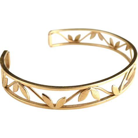 vintage krementz gold leaf cuff bracelet from