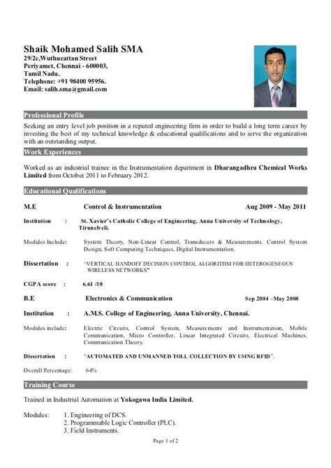 standard resume format for fresher fre sle resume for freshers engineers instrument