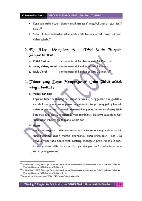 Termometer Suhu Basal Tubuh metabolisme dan suhu tubuh