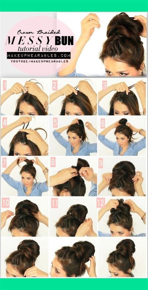 5 minute hairstyles for medium hair 5 minute messy bun with crown braid tutorial video cute