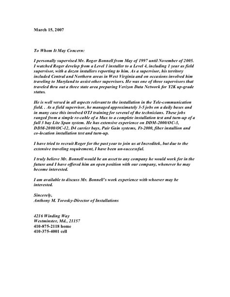 Reference Letter For Superintendent Letter Of Recommendation From Supervisor Verizon Retiree