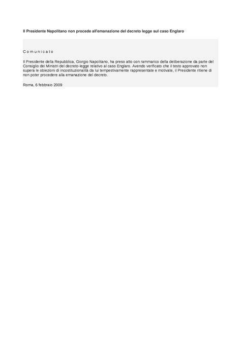 istituzioni di diritto pubblico dispense caso englaro rifiuto emanazione decreto legge dispense
