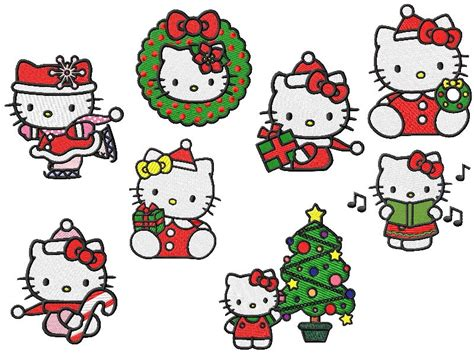 kitty christmas embroidery designs  sizes