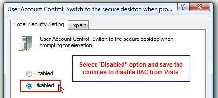 how to disable secure desktop in windows 7 vista
