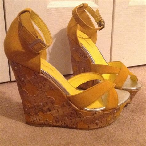 mustard yellow embellished wedges 8 5 from s