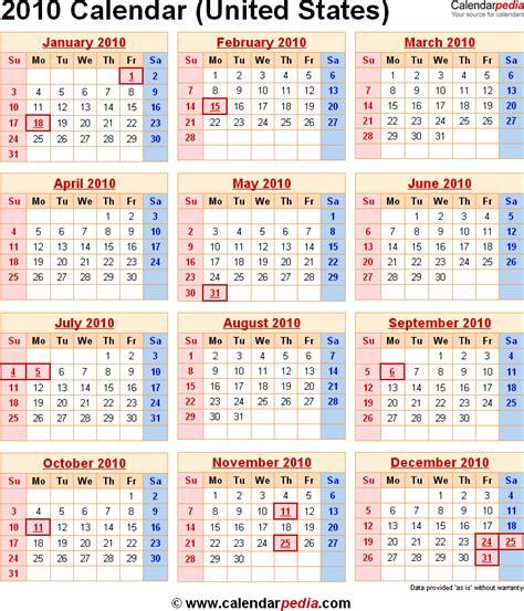 Calendar For 2010 2010 Calendar For The Usa With Us Federal Holidays