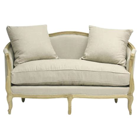 french settee loveseat rue du bac french country natural linen feather settee