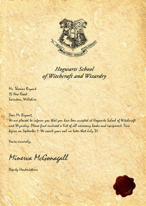 Acceptance Letter For Hogwarts School Of Witchcraft And Wizardry 25 Best Ideas About Hogwarts Letter On Harry