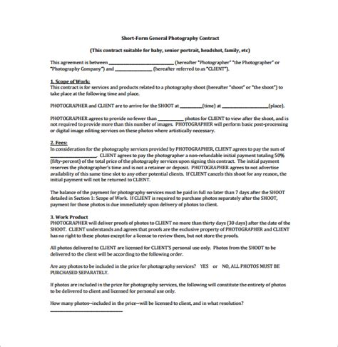 free photography contract templates photography contract 12 free documents in word pdf