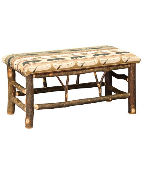 classic bench classic hickory log bench amish direct furniture