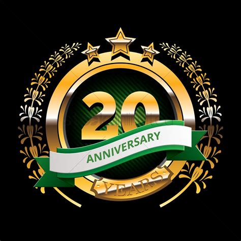 20 years anniversary label with ribbon vector image 1399813 stockunlimited