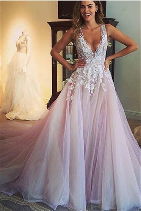 V Neck Dress Pink v neck pink wedding dresses 2019 sleeveless