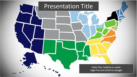 Free United States Map Powerpoint Template 6323 Sagefox Powerpoint Templates Powerpoint Us Map Template Free