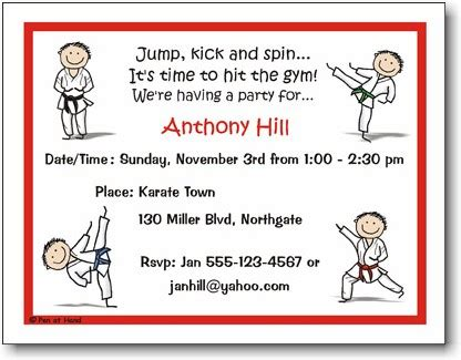 Thank You Note To Karate Pen At Stick Figures Invitations Karate Boy Inv 1050 B More Than Paper