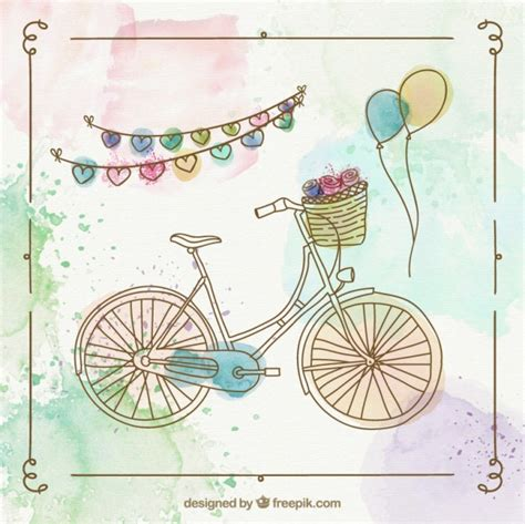 imagenes de una retro bicicleta retro pintada a mano descargar vectores gratis