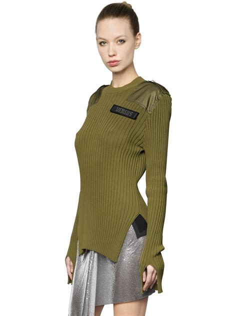 Sweater Dod Bro Jidnie Clothing versus cotton ribbed knit sweater w slits green clothing knitwear w65i 0ty003