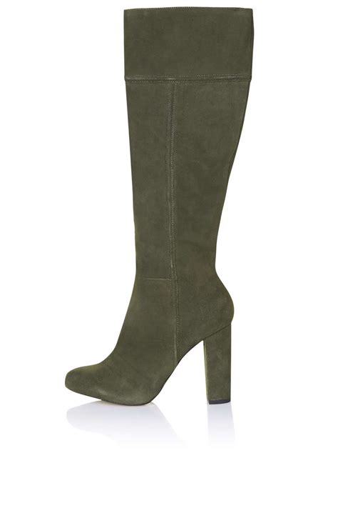 bunny suede knee high boots boots shoes topshop