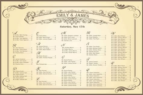 wedding seating charts template wedding seating chart vintage for your reception
