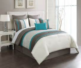 Taupe turquoise embroidery queen comforter set stripes geometric