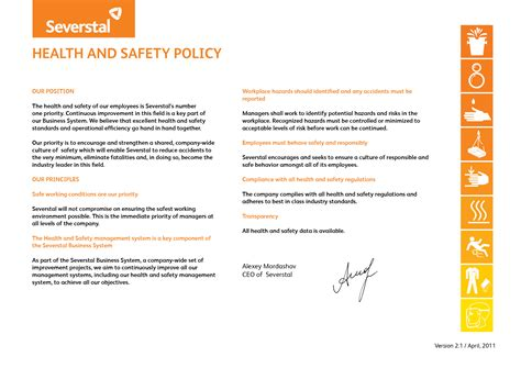 health and safety policy severstal metiz corporate responsibility health and