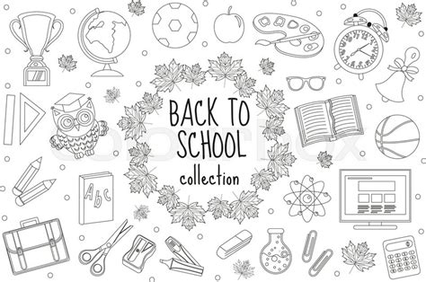 school set  icons  stock vector