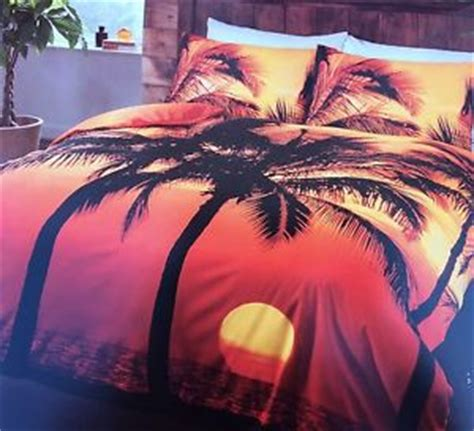 sunset tropical beach print single bedding set duvet cover