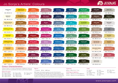 chroma s jo sonja artists colors color chart color charts colour chart artist