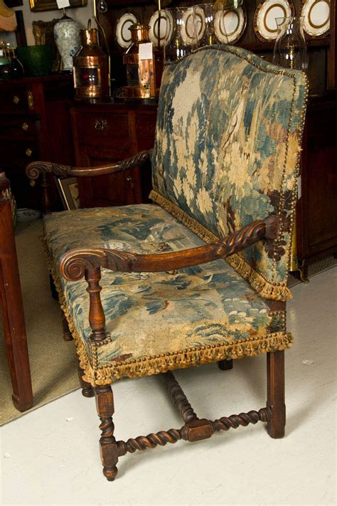 antique benches and settees 19thc english oak hall bench settee with antique tapestry at 1stdibs