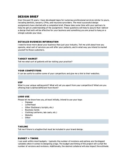 design brief questionnaire brand design brief home design ideas