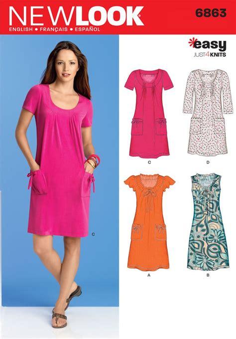 jersey knit sewing patterns womens knit dress or mini dress pattern 6863 new look