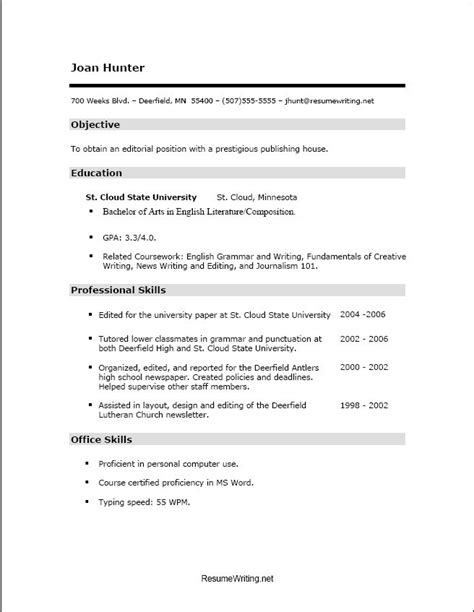 Resume Template For High School Students With No Experience by Resume Templates High School Students No Experience Exles Of College Student Resumes Student