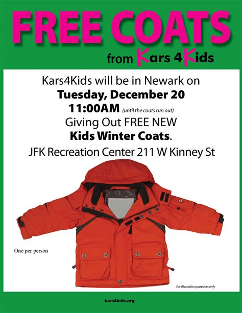 Free Sweepstakes - kars4kids car donation program free coat giveaway for newark needy with mayor cory booker