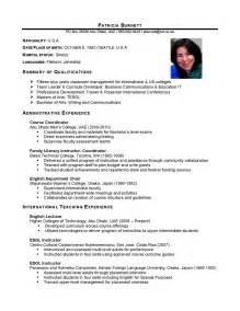 International Resume Template by International Business International Business Cv Sle