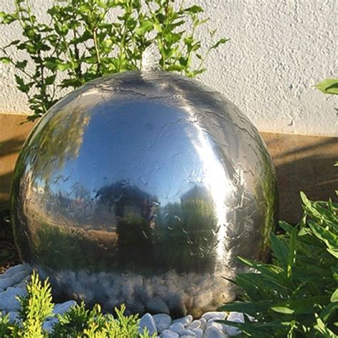 outdoor water features with lights 45cm stainless steel sphere water feature with led lights