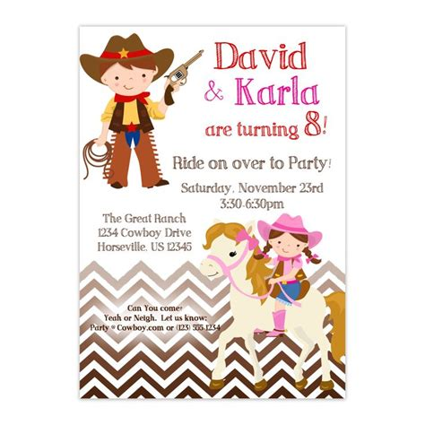 personalized birthday invitations horse by littlebeaneboutique cowboy invitation brown chevron twin boy girl cowboy